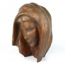 Sculptură modernistă în lemn de măslin | Fecioara Maria | lucrare semnată | cca. 1950 -1970 | Italia