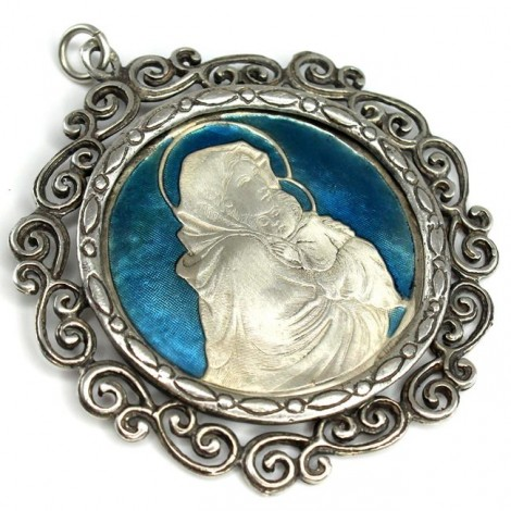 Splendid pandant statement religios |  Fecioara Maria cu Pruncul | argint emailat | cca. 1950 | Italia