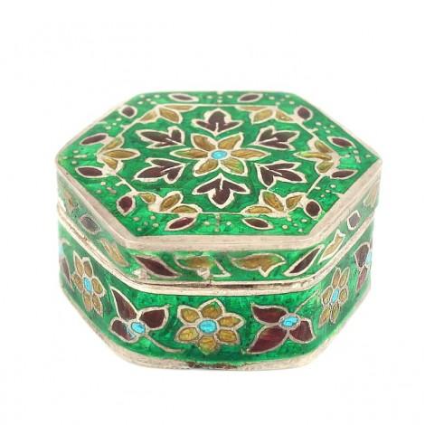 Cutiuță din argint pentru creme și pastile | email champlevé | manufactură de perioadă British Raj | India