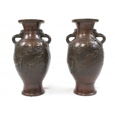 "Impresionantă garnitura de vaze "" French Japonism "" | galvanoplastie cupru | cca 1880 | Franța"