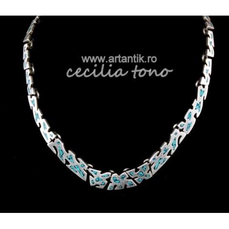 colier Cecilia Tono. taxco mexico cca 1950-1960. argint. mozaic mexican. 66.4 grame