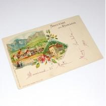 carte poștală 1900 - Salutări din România - Govora - circulată local