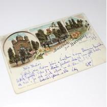 carte poștală 1898 - Salutări din București - circulată internațional