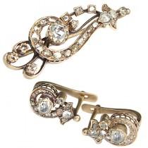 set bijuterii victoriene - brosa & cercei - aur si diamante 1.7 ctw -  cca 1850 Marea Britanie