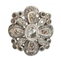 opulent inel victorian cu diamante naturale - aur si argint - Danemarca cca 1900