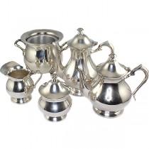 garnitura pentru servirea ceaiului si a cafelei - alama argintata - Marea Britanie