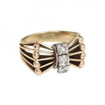 inel modernist scandinav - aur si diamante naturale - Danemarca anii' 50