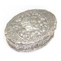 veche caseta indiana pentru bijuterii  - argint si lemn - Hyderabad India