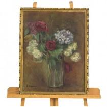 pictura Falcoianu Alexandrina ( Lili ) 1869-1951 - Glastra cu flori de primavara - interbelica