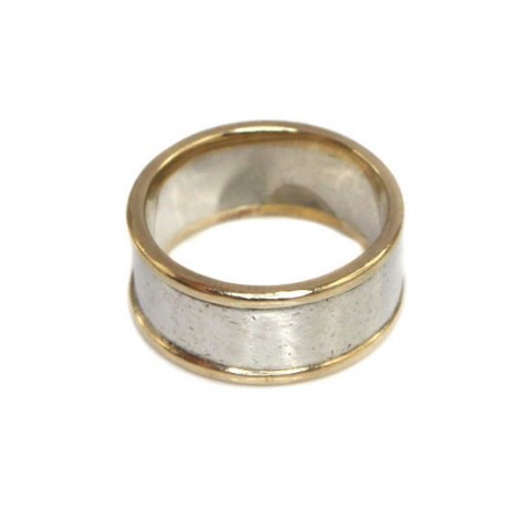 Inel Verigheta Din Argint Si Aur 12k Stil Minimalist Marea Britanie