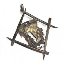 Vechi pandant religios pentru expunere parietală | Giulgiul din Torino | manufactură în argint - Italia