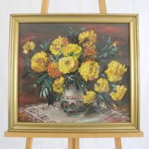 pictura Maria Dumitrescu - Crizanteme in ulcior - ulei pe panza - 1971