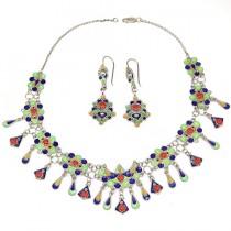 set de bijuterii etnice Kabyle - argint emailat - Algeria cca 1950