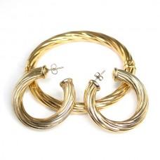 """Elegant set de bijuterii din argint vermeil  """" Twist """" - Italia"""