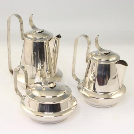 set solitaire pentru servirea ceaiului si cafelei - argint - Atomic Age - Italia anii '1960