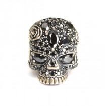 spectaculos inel statement - Skull - argint si zirconii negre - Platadepalo - Spania