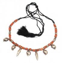 Vechi colier etnic Banjara - argint si coral natural - Rajasthan