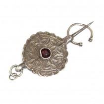 Veche amuletă-fibulă tribală berberă - manufactură în argint - cca.1900 Maroc