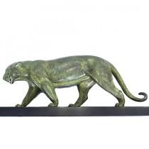Statueta Art Deco - Pantera - spelter calaminat & marmura - cca 1920 Franta