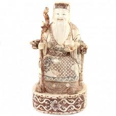 Veche statuetă taoistă - SHOU - os policromat - China cca. 1930