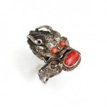 RAR: Vechi inel chinezesc - Dragon Imperial - argint si coral antic - cca 1900