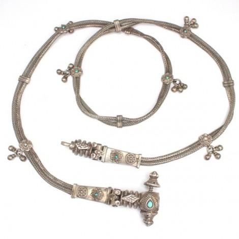 Veche centura traditionala indiana - Kamarpatti - argint & turcoaze- cca 1920