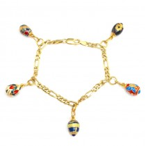 Bratara cu charmuri Fabergé - argint emailat & aurit - colectia Heritage