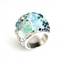 Opulent inel cocktail Swarovski - Chic Multi Blue - Austria