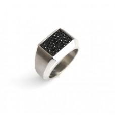 Inel bărbătesc Swarovski - oțel & cristale negre - Austria