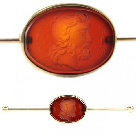 Ac-pin victorian, pentru gulerul cămășii - camee intaglio Septimius Severus - aur 18k