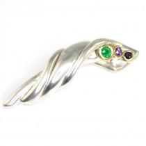 Brosa-pandant Couture- argint, aur & nestemate - bijuterie de autor- semnata Arsano
