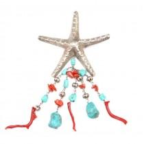 """Superbă broșă """"Stella di Mare """" - argint, coral & turcoaze naturale - Italia"""