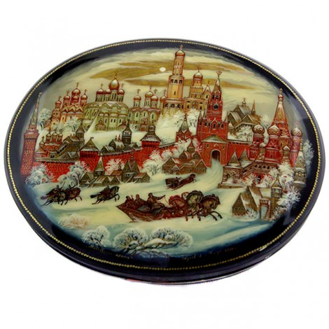 Casetă pentru bijuterii - Kremlinul din Moscova -  papier mâché & lacquer - Zhukov Anatoliy - Rusia