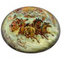 Caseta pentru bijuterii - lacquer Fedoskino - Troika - semnata N. Lukashin - Rusia 2013