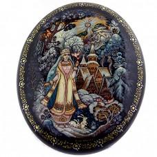 Casetă pentru bijuterii - Snegurochka - papier mâché & lacquer - Kholui - semnată Zhukov - Rusia