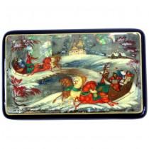 Caseta pentru bijuterii - lacquer intarsiat cu sidef abalone- Palekh -semnata Vera Smirnova