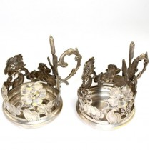 Pereche de suporturi pentru pahare de ceai - Art Nouveau - Franta cca. 1910