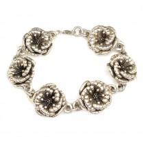 Superba bratara din argint ornamentata cu flori de mac - Mexic