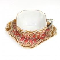 Rafinat deux-piece japonez pentru servirea ceaiului - portelan moriage - cca 1900