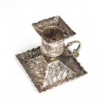 Rafinat sfeșnic miniatural, din argint - atelier Hanau - Gebruder Dingeldein sec XIX