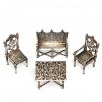 Set de mobilier miniatural pentru casa păpușilor   argint   stil Henry II   atelier Hanau - sec. XIX