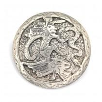 Broșă-pandant Azteca - Tlaloc - manufactură în argint - Mexic