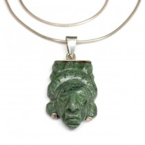 "Colier cu pandant "" Pakal "" - jad natural & argint - Mexic"