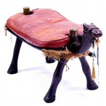 Vechi taburet egiptean - lemn sculptat & piele naturală