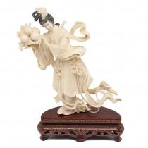 "Splendida statueta "" Guan Yin "" - fildes & lemn - cca.1930 China"