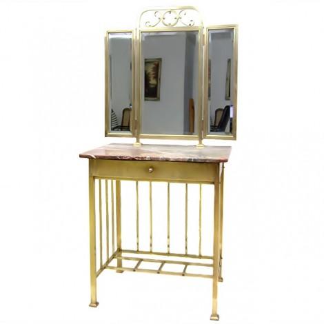 Impresionantă masă de toaletă - Art Deco - alamă, cristal & marmură - cca.1930