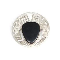 Broșă-pandant modernist Azteca |  Huitznahuatl | | argint & obsidian | Mexic cca.1960