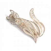 Broșă filigranată în argint | Pisică | manufactură de artizan indonezian
