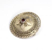 """Broșă """" Etruscan Revival """" - argint filigranat & rubin faux - Italia cca.1950"""