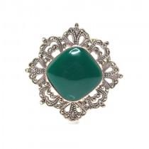 Elegantă broșă în stil Art Deco | manufactură în  argint | agat verde & marcasite